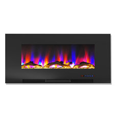 """42"""" Wall-Mount Electric Fireplace Black Multi-Color Flames Driftwood Log Display"""