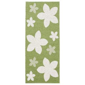 Flower Woven Vinyl Floor Cloth, Green, 150x200 cm