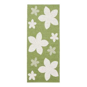 Flower Woven Vinyl Floor Cloth, Green, 150x250 cm
