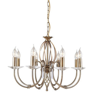 Traditional Aged Brass 8-Arm Chandelier With Cut Glass