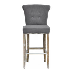 Upholstered Bar Stools and Counter Stools with Nailhead Trim | Houzz