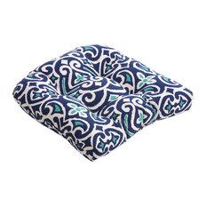 Pillow Perfect Inc   New Damask Wicker Seat Cushion, Marine   Seat Cushions