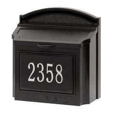 Whitehall Custom Wall Mount Aluminum Mailbox with Address - Black/Silver