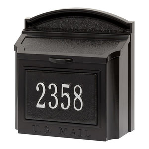 Whitehall Custom Wall Mount Aluminum Mailbox with Address - Black/Silver