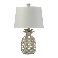 Metallic Pineapple Table Lamp, Silver Finish, White Hardback Shade