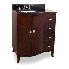 Hardware Resources VAN067 Wood Vanity, Black Granite Top