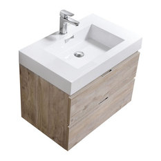 "Bliss 30"" Wall Mount Bathroom Vanity, Nature Wood"