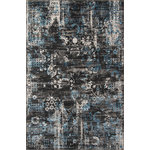 Momeni - Juliet Rug, Charcoal, 2'x3' - The Juliet Collection will enhance your decor with a unique vintage appeal. It has been crafted with durable polypropylene for longevity, and touches of viscose for luster and softness. The patterns are inspired by erased traditional oriental patterns. A trend-conscious color palette with light airy colors is used to create a peaceful and cool home. Power-loomed in Turkey, this romantic collection will adorn any floor.