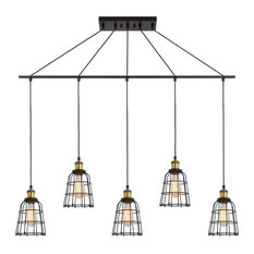 Woodbridge Lighting Fulton 5-Light Wire Cage Linear Pendant with ST64 Bulb