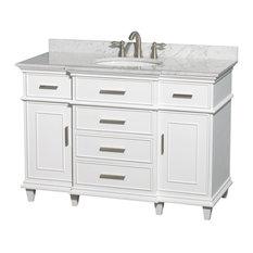 """Berkeley 48"""" Vanity, White, White Carrera Marble, Undermount Round"""