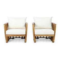 Wallowa Outdoor Acacia Wood Club Chairs With Cushions (Set 2), Teak and Cream