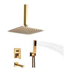 L'Aquila Brass Gold Tone Shower Set, Ceiling Mounted