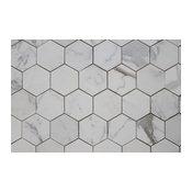 "Hexagon Calacatta Gold Polished Marble Mosaic Tile, 12""x12"""