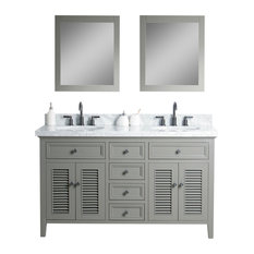 Erin Solid Wood Vanity With Mirror and Faucet, Gray, 60""