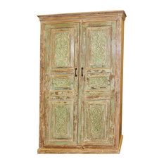 Consigned Antique Rustic Old Doors Armoire Cabinet Carved Floral Green