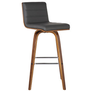 Vienna Contemporary Swivel Bar Stool, Bar Height, Gray