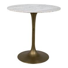 "Laredo Bar Table 40"", Antique Brass, White Marble Top"