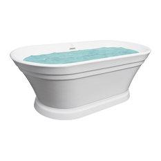 "AKDY 67"" White Acrylic Freestanding Soaking SPA Bathroom Bathtub With Drain"