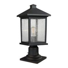 "Z-Lite 531PHMR-533PM-ORB Portland 17.75"" Tall 1-Light Outdoor Lantern Pier Mount"