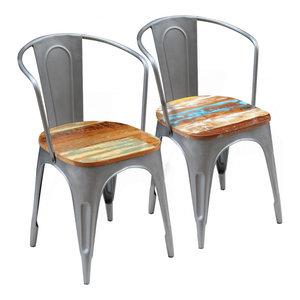 vidaXL Set of 2 Dining Chairs, Solid Reclaimed Wood, 51x52x80 cm