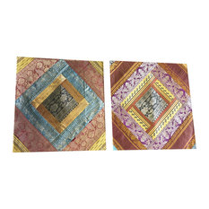 Mogulinterior - Indian Silk Cushion Covers Vintage Sari Border Patchwork Bohemian Pillow Cases - Pillowcases and Shams