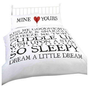Mine And Yours Duvet Cover Set, Black and White, Double