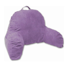 Light Purple Microsuede Bed Rest Reading Pillow With Arms