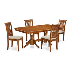 5-Piece Dining Room Set Table With Leaf And 4 Chairs With Cushion