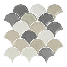 "12""x12"" Glazed Ceramic Fan Mosaic Tile, Taupe Blend"