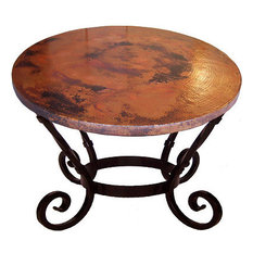 Big Round Hammered Copper Table