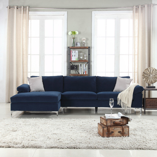 DIVANO ROMA FURNITURE. MODERN VELVET L SHAPE SECTIONAL SOFA WITH EXTRA WIDE  ...
