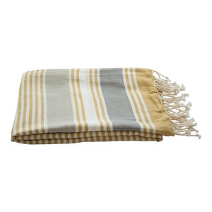 Set of 2 Sally Cotton Hammam Throws, 130x200 cm, Mustard and Charcoal