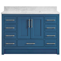 "Kendall Deep Blue Bathroom Vanity Toe Kick Base, 48"", With Carrara Marble Top"