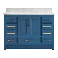 Kendall Deep Blue Bathroom Vanity Toe Kick Base 48-inch With Carrara Marble Top