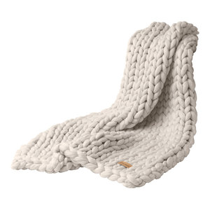 Chunky Knitted Throw, White