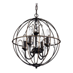 Dover 4-Light Antique Bronze Globe Cage Chandelier With Crystals, 16.5""