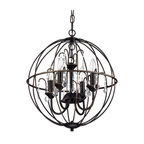 """Dover 4-Light Antique Bronze Globe Cage Chandelier With Crystals, 16.5"""""""