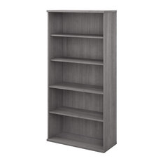 Contemporary Bookcase 3 Adjustable And 2 Fixed Storage Shelves Platinum Grey