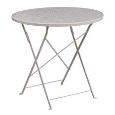 "Westbury Round 30'' Light Gray Steel Folding Table, 28"""
