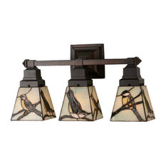Most popular rustic bathroom vanity lights for 2018 houzz meyda tiffany meyda tiffany 98392 early morning visitors 3 light 20 wide bathroom fixture mozeypictures Image collections