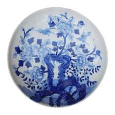 Chinese Blue & White Porcelain Flower Tree Theme Charger Plate Hcs2172