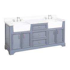 """Zelda Bathroom Vanity, Powder Gray, 72"""", Top: Quartz, Double Sink"""