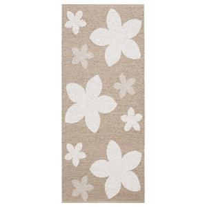 Flower Woven Vinyl Floor Cloth, Beige, 70x200 cm