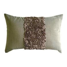 the homecentric textured ribbon brown art silk 12x16 lumbar pillow cover champagne brown love