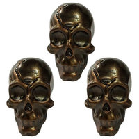 3 Pcs Dull Face Skull Bone Drawer Handles Cute Skull Face Resin Closet Pulls