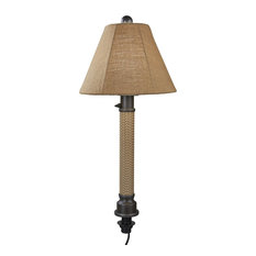 "Umbrella Table Lamp , 2"" Mocha Cream Wicker, Bronze Tube Body, Straw Linen"
