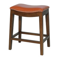 Elmo Bonded Leather Counter Stool Pumpkin