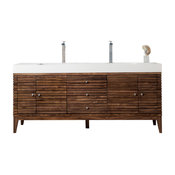 "Linear 72"" Double Vanity Mid Century Walnut, Cabinet Only(no Top)"