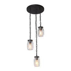 LNC 3-Light Glass Jar Chandeliers Linear Kitchen Island Lighting