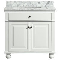 """Dustin White Bathroom Vanity With Marble Counter, 36"""""""